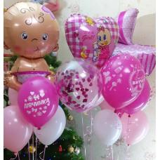 Гелиевые шарики на выписку для девочки