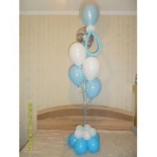 Гелиевые шары бело голубые роддом (Мальчик).