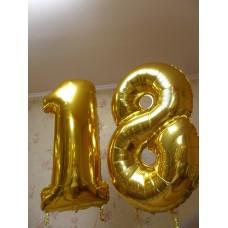 Фольгированная цифра восемнадцать