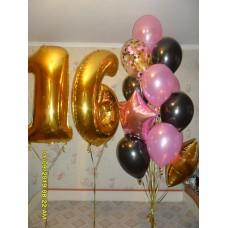 Цифра 16 с Букетом гелиевых шаров