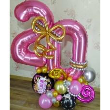 Цифра Двадцать из шаров Розовая