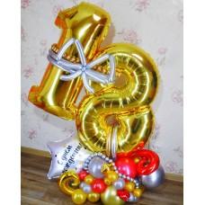 Цифра из шаров Восемнадцать Золото