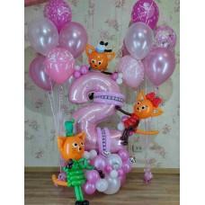 Цифра Три кота из воздушных шаров