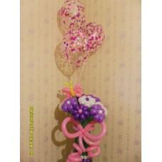 Букет из шаров фиолетово-белые ромашки с гелиевыми шариками.