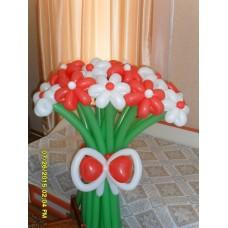 Букет из шаров Красно-Белые Ромашки