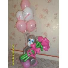 Букет из шаров Мишка Тедди Розовый