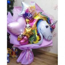 Букет из шаров Радужный Единорог