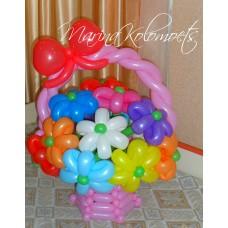 Букет из шаров в розовой корзине