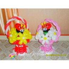Букеты из шаров в Корзинках