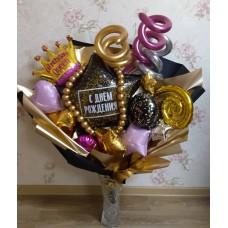 Крафтовый букет шаров Birthday Queen