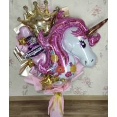Крафтовый букет шаров Единорог
