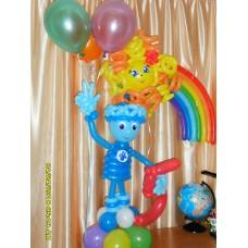 Фиксик Нолик из шаров с цифрой пять и гелиевыми шарами