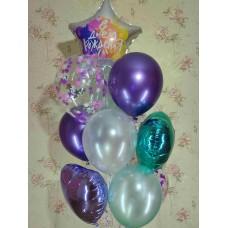Букет гелиевых шаров Фиолетово-бирюзовый
