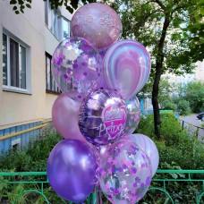 Букет гелиевых шаров Фиолетово-розовый