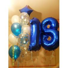Фольгированная цифра восемнадцать с фонтаном гелиевых шаров