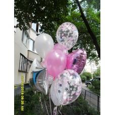 Фонтан гелиевых шариков розовое серебро