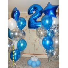 Фонтан гелиевых шаров с Фольгированной цифрой два.