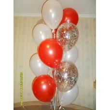Фонтан из шаров  красно белый серпантин.