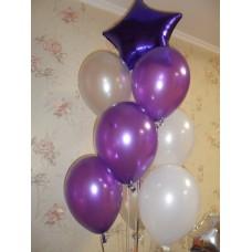 Гелиевые шарики Бело-Фиолетовые