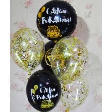 Гелиевые шарики черное золото