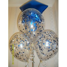 Гелиевые шарики с синей фольгированной звездой и конфетти.