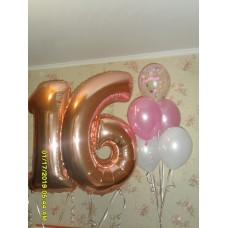 Гелиевые шарики цифра 16