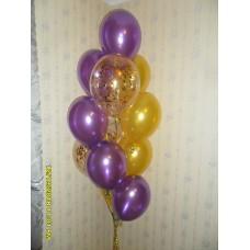 Гелиевые шарики золото с фиолетовым