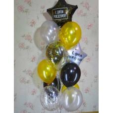 Гелиевые шарики золотой с черным