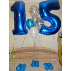 Гелиевый фонтан пятнадцать бело голубой