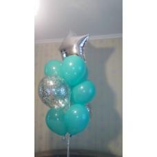Композиция фонтан гелиевых шаров и фольгированная звезда серебро.
