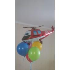 Композиция гелиевые шарики и фольгированный вертолет.