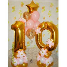 """Цифра 10 на подставочке + фонтан гелиевых шаров """"Золотая нежность"""""""