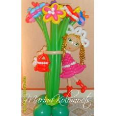 Букет ромашек с девочкой из шаров