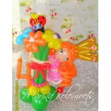 Принцесса с оранжевыми волосами и букетом
